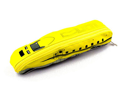 A cute pencil case in the shape of a shinkansen bullet train